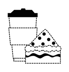 Delicious cake portion with beverage vector