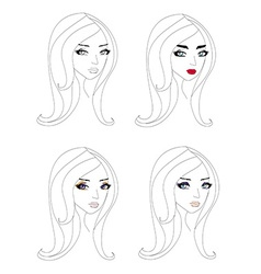 doodle portrait of a girl different make-up vector image vector image