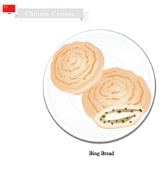 Dumpling bing or chinese flat bread with scallion vector