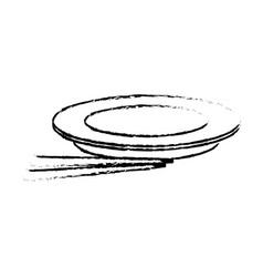 Empty plate with chopsticks bamboo vector