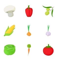 Farm vegetables icons set cartoon style vector