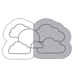 figure clouds with sun icon vector image vector image