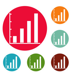 Finance chart icons circle set vector