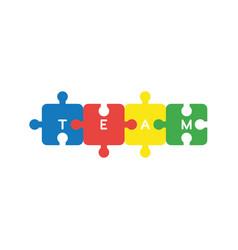 flat design concept of team word written four vector image