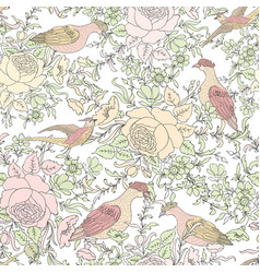 Flowers and birds floral seamless background vector