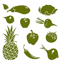 Fruits vegetables silhouettes vector image