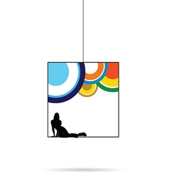 Girl silhouette black in cube in colorful vector