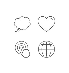 Globe internet speech bubble and click icons vector