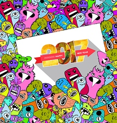 Happy new year 2017 hand drawn monsters and cute vector
