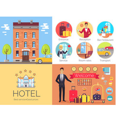hotel working indoor and outdoor poster with label vector image vector image