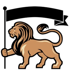 Lion mascot hold a flag vector