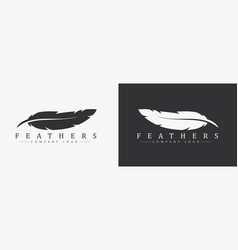 Logo design with feather and company name for a vector