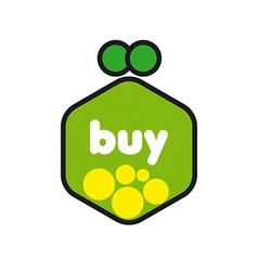 Logo green purse with coins vector