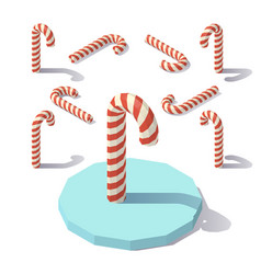 low poly christmas candy cane vector image vector image