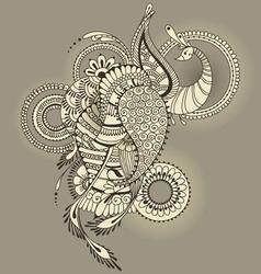 Mehndy peacock tattoo vector