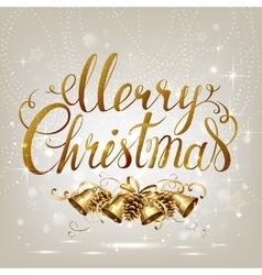 Merry Christmas inscription on the light vector image