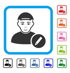 Modify user framed gladness icon vector