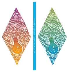 Multicolored abstract alchemical bottle vector