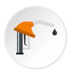 Orange gasoline pump nozzle icon circle vector