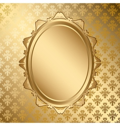 Oval golden frame on gold pattern vector