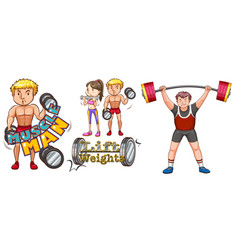 People doing weightlifting on white background vector