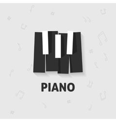 Piano keys flat black and white keyboard vector
