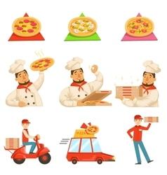 Pizza delievery fast service process info vector