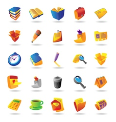 Realistic icons set for office themes vector image vector image