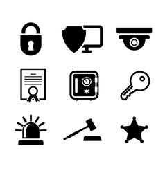Safety and security icons set vector image