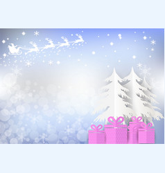 santa claus with gift box and bokeh background vector image
