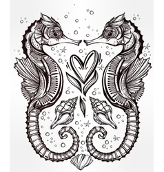 seahorse with heart line art vector image vector image