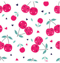 Seamless pattern with cute cherries vector