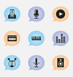 set of 9 editable mp3 icons includes symbols such vector image vector image