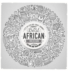 Set of africa cartoon doodle objects round frame vector