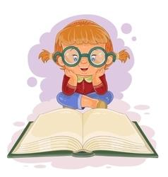 Small girl reading a book vector image vector image