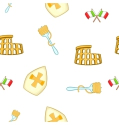 Symbols of Italy pattern cartoon style vector image vector image