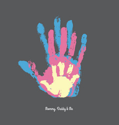 watercolor handprint of family vector image vector image