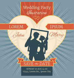 wedding love invitation card with happy couple in vector image