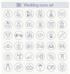 Wedding outline icon set thin line style vector