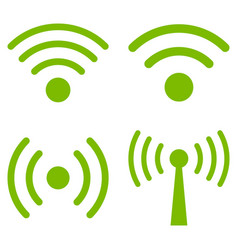 Wi-fi signal flat icon set vector