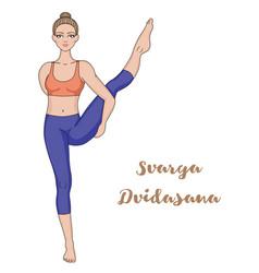 Women silhouette bird of paradise yoga pose vector