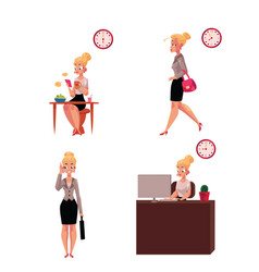 Work day morning of beautiful young businesswoman vector
