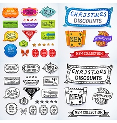 Colored black-white set of promotional sales vector