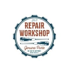 Vintage label design Repair workshop emblem in vector image