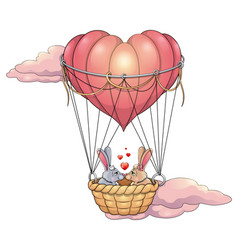 Rabbits in love on a balloon vector