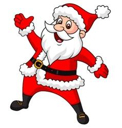 Santa clause cartoon waving hand vector image