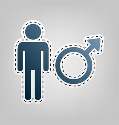 Male sign   blue icon with vector