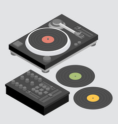 Dj set of decks and mixer vector