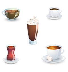 Set of delicious hot drinks coffee tea a vector