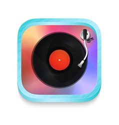 Vintage record player icon vector